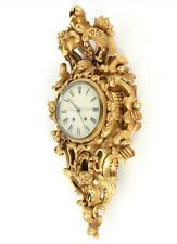 """Amazing 36,2"""" Large Gilt Carved Wood Wall Cartel Rococo Clock 19C Stockholm"""