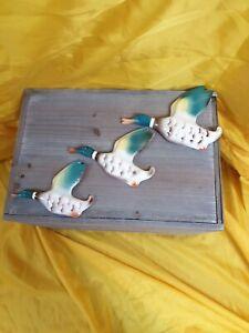 Vintage Keele Street Pottery set of three Flying Ducks / Mallards Wall Plaques