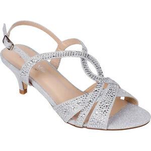 Women's Silver Dress Shoes Low Heel Sandals Wedding Rhinestone Open Toe Strappy