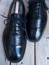 FERRAGAMO Mens Dress Shoes Soft Black Leather Lace Up Italian Cap Toe Oxford 7EE