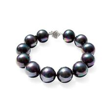 Bracelet en Perles de culture noires et fermoir fleur en Argent 925