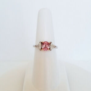 2.48 CTW. CERTIFIED NATURAL UNHEATED PADPARADSCHA SAPPHIRE DIAMOND 18K GOLD RING