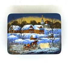 """Lacquer box """"Village"""" Style Fedoskino Hand Painted #70"""