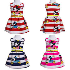 Baby Kids Girls Princess Party Dress Mickey Mouse Stripe Summer Dress 2-7Y