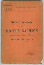 Notice technique du moteur Salmson Type 18 C M b 520 CV Ministere de la guerre