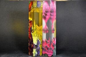 Set of 2 Stabilized  Wood & Acrylic Hybrid Blocks Woodurning Blanks Pen blanks