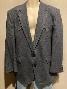 Men's CIRCLE S Dallas Texas Blue/Gray Wool Jacket Blazer Western Yoke USA 44 R