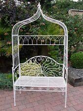 White Garden Bench And Arch