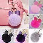 New Cute Rabbit Fur Ball PomPom Cell Phone Car Pendant Handbag Key Chain Ring