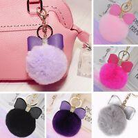 Hot Leather Bow Bag Rex Rabbit Fur Ball Car Key Chain Keyring PomPom Accessories