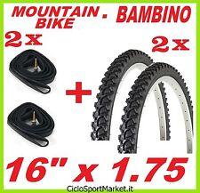 2 x Neumáticos + 2 x Cámaras de aire bicicleta Mountain Bike - NIÑO 16 x 1.75
