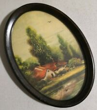 """Vintage 1930s landscape Print 7"""" x 5"""" with iron oval frame -- 4855"""