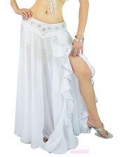 New Belly Dance Costume Skirt Silver Edge with slit Skirt Dress 8 colors