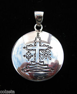 PAPA GHEDE voodoo veve waits at the crossroads 925 silver pendant by Peter Stone