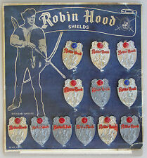 Robin Hood Shields, Pinback badges on card. 1950's UK TV Series Richard Greene