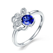 Solid 14K White Gold Natural Sapphire & Diamond Wedding Engagement Gemstone Ring