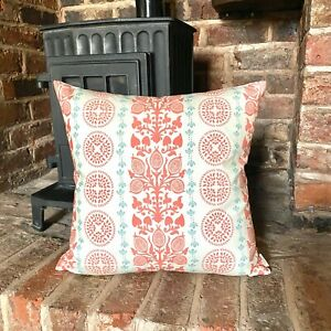 1067. Walleby Coral Stripes 100% Cotton Cushion Cover, various sizes