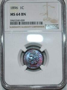 NGC MS-64 BN 1896 Indian Head Cent, Attractively toned specimen.