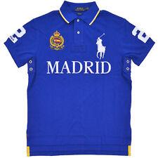 Polo Ralph Lauren Big Pony Camisa Azul para Hombre CALCE PERSONALIZADO Malla Madrid Medio M