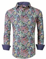 Mens PREMIERE Long Sleeve Button Down Dress Shirt COLORFUL DESIGNER PAISLEY 672