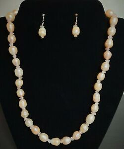 Pearl and Rose Quartz Necklace and Earring Set with Sterling Silver Clasp Hooks