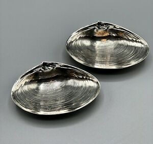 Wallace Sterling Silver 4020 Clam Shell Nut Dish Set of 2 /b