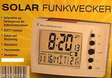 Solar Wecker Funkwecker Datum Thermometer Temperatur DCF77
