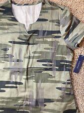 New listing Jaanuu Scrubs Top Como Camouflage Olive Green Black Grey Medical Uniform Xs
