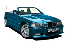 POSTER - BMW E36 M3 - (A4, A3, A2 Size) - CHOOSE REG & Colour PERSONALISE Car