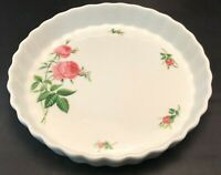 "Christineholm Rose Patterned Porcelain Quiche Torte Pie Dish 9.5"""