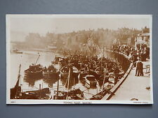 R&L Postcard: Whitby Fishing Fleet, Boats 1950's Sepia View, Chadwick