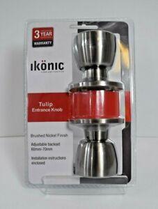 Ikonic Tulip Entrance Door Knob 60mm - 70mm Adjustable Set Brass Chrome Nickel