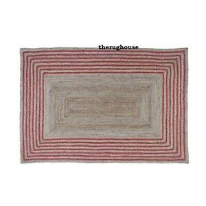 Rug 100% Natural Jute Reversible Braided Handmade Area Carpet Runner Outdoor Rug