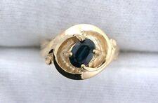 14Kt Heavyweight Swirl Yellow Gold Ring 7x5 Oval Blue Sapphire Gemstone Sz 6.25