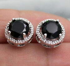 18K White Gold Filled - 7mm Round Black Onyx Topaz Hollow Lady Gemstone Earrings