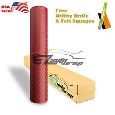"*60""x72"" 3D Carbon Fiber Burgundy Wine Vinyl Car Wrap Sticker Decal Sheet Film"
