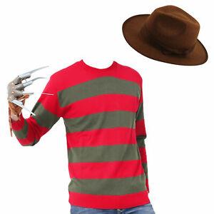 Adult Mens Boys Freddie Krueger Halloween Fancy Dress Costume Outfit FULL SET