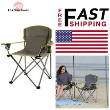 Gray Large Folding Patio Armchair Heavy Duty Portable Outdoor Seat Lawn Camp