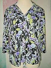 COVINGTON Black + Blue White Purple Green Bold Floral 3/4 Sleeve Stretch Top 16W