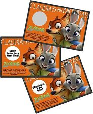 DISNEY ZOOTOPIA SCRATCH OFF PARTY GAMES CARDS BIRTHDAY FAVORS SCRATCH OFFS GAME