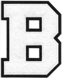"""4 """" Grand Blanc Noir Bloc Letterman's Lettre B Feutre Patch"""