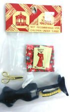 VTG Dollhouse Town Square Sewing Dress form Pattern Scissors Fabric Measure Tape