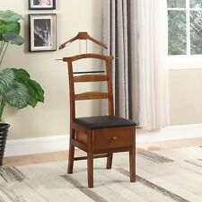 Chair Valet Stand Mens Suit Rack Wood Clothes Hanger Organizer Storage Drawer