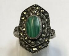 925 Sterling Silver Malachite Ring Size 8 5.5 Grams Collectible Art Jewelry Gemstone