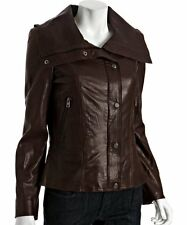 New Women's Andrew Marc New York Brown Leather Coat Jacket Size Small S NWOT