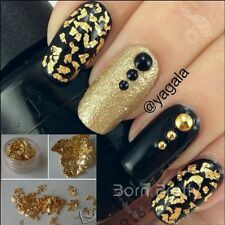 12 Stk Nail Art Glitter Glitzer Folie Gold Silber Nageldesign Dekoration Set
