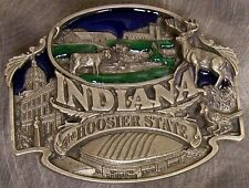 Pewter Belt Buckle State of Indiana colored NEW