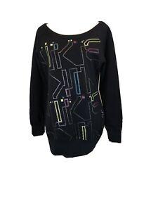 Nike Women's Boatneck  Neon Logo Print Women's Atletic Sweater Size M