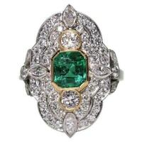 Art Deco 3.10 Ct Emerald Diamond Vintage Engagement Ring 14K White Gold Finish