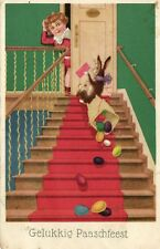 Easter bunny falls of stairs with eggs comic artist postcard 1932